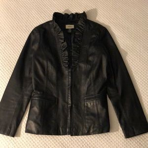 Black leather Neiman Marcus ruffle neck blazer